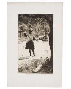 Le Croquet: 1878 by James Tissot - etching and drypoint - Viewed as part of the Exhibit: Fun and Games: The Pursuit of Leisure (Toledo Museum of Art, Toledo, OH) (August, 2014)