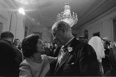 President Lyndon Johnson and Lady Bird Johnson dance at their daughter, Lynda Bird's wedding on December 9, 1967