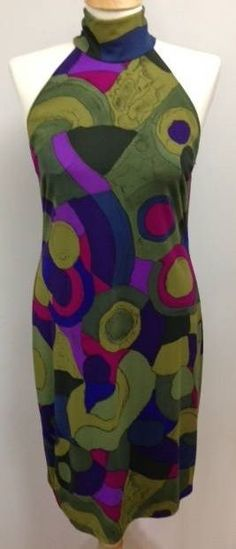 Maggy London SEXY halter dress size 10 green purple sleeveless STRETCH body con #MaggyLondon #StretchBodycon #Casual