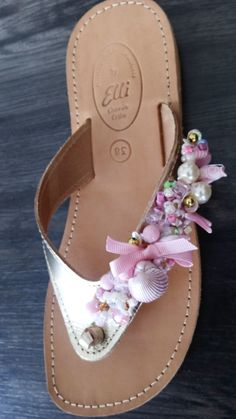 Handmade leather sandals with lace designed by Elli lyraraki