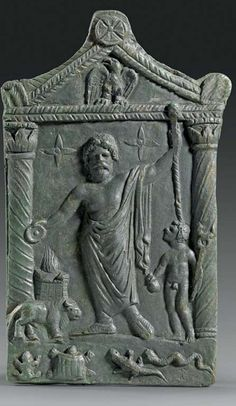 Bronze votive relief for Jupiter Sabazios showing the god with sceptre and patera in a naiskos, 2nd-3rd century A.D.