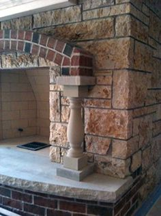 brick stone fireplace | ... fireplaces with brick and natural stone used in these brick fireplace