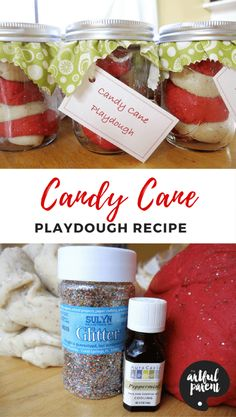 Follow this recipe and tutorial to make homemade candy cane playdough that looks (and smells) amazing! This playdough makes a great Christmas gift for kids. via @TheArtfulParent