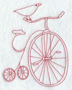 Country Bird on Bicycle (Redwork)