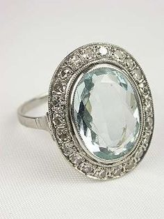 Vintage 1950s Aquamarine Engagement Ring... Umm wow! Love the vintage look but of course with a diamond lol