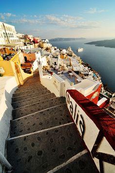 Fira, Santorini, Greece. We ran down this exact stairway...slowly slowly @Sonia Andreou @Bianca Toma