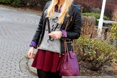 www.blonde-concept.com Sweater/Skirt by h&M, Blouse by Sportalm,  Bag by Asos, Leather Jacket by MTC,  #fashionblogger