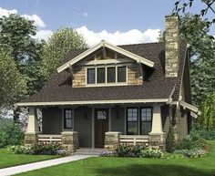 <ul><li>This bungalow is a modern take on the classic Craftsman house plan. The exterior features tapered front columns, a deep, covered front porch, a windowed roof gable and extensive use of natural materials. All of this plus an floor plan - and loft - make this a great home plan.</li><li>As you enter this Craftsman house plan, you'll see two half stone columns framing a covered porch. As you walk into the living room, with its fireplace and 9'-ceilings...