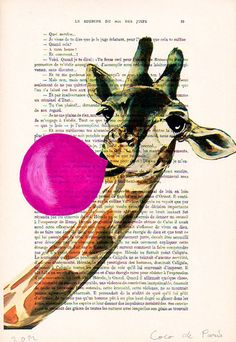 I just kind of like this woman's work - Acrylic paintings Original Prints Drawing Giclee Posters Mixed Media: Giraffe with bubblegum. $12.00, via Etsy.    ...BTW,Check this out:  http://artcaffeine.imobileappsys.com