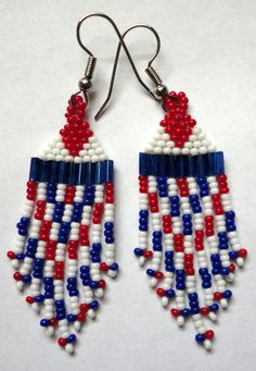 Red White and Blue Native American Brick by AlphaMelsBeadwork, $11.25