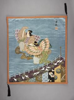 Blue satin fukusa (gift cover) with embroidered design of two dancers performing the butterfly dance: Japan,1868 - 1883