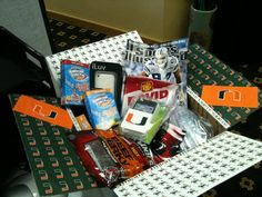 My boyfriends first care package in 2011. I themed it around his favorite college football team and it was during the first month of football season!