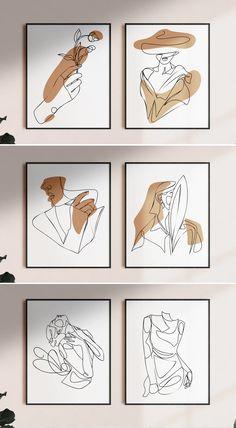 50+ Aesthetic Female Line Art Vector Illustration