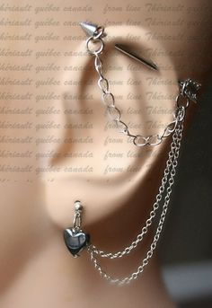 Arrow, Industrial Barbell, Industrial piercing,  Jewelry, Industrial bar earring, Industrial piercing chain,Hematite heart (m2D)