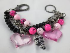 Pink and Black Skull and Hearts Charm Bracelet by Unfeather by Robyn