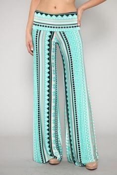 Wish i had the nerve to wear Palazzo Pants Mint Santorini Greek Key Status Stripe Silky Stretch Fold Waist I Love Fashion, Fashion Pants, Fashion Outfits, Womens Fashion, Looks Style, Style Me, Boho Style, Boho Chic, Bohemian