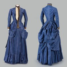 """There is an unusual asymmetry to the presentation of this mid silk day dress. were often constructed in unusual ways during this period with striking decorations, including in this case the twinkling cut steel Victorian Era Fashion, 1880s Fashion, Victorian Gown, Victorian Costume, Fashion Fashion, Ball Gown Dresses, Day Dresses, Vintage Gowns, Vintage Outfits"