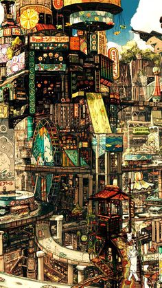Art director Zhichao Cai (aka Trylea) uses no tricks or photocomping in his amazing, ridiculously vertical compositions, featuring incredibly pushes perspectives, impossible architecture and a plethora of detail to scour for in his incredible digital Cyberpunk City, Cyberpunk Kunst, Fantasy Art Landscapes, Fantasy Landscape, Landscape Art, Illustration Photo, Japon Illustration, Art Illustrations, Anime Scenery Wallpaper