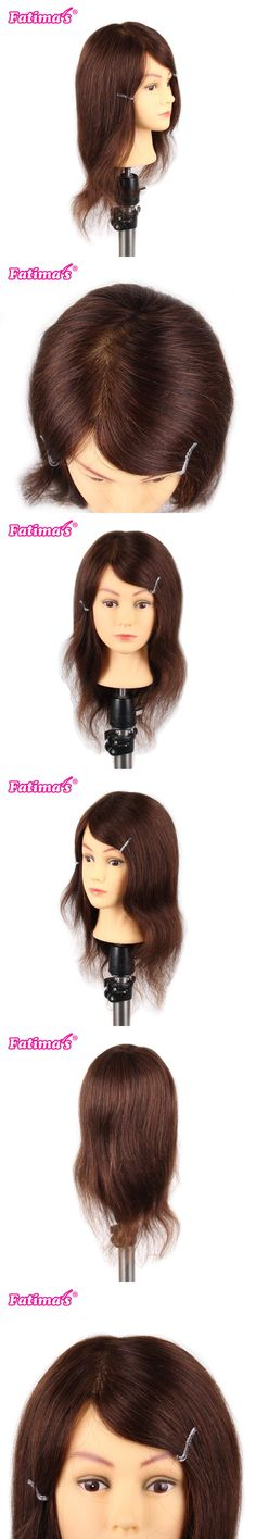 """Fatimas Female 16"""" Real Hair with Beard Hairdressing Cosmetology Mannequin Manikin Training Training Head with Clamp Stand"""