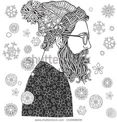 Find Bearded Man Glasses Hat Snowing Winter stock images in HD and millions of other royalty-free stock photos, illustrations and vectors in the Shutterstock collection. Hipster Man, Zen Art, Mens Glasses, Coloring Book Pages, Bearded Men, Zentangle, Art Ideas, How To Draw Hands, Royalty Free Stock Photos