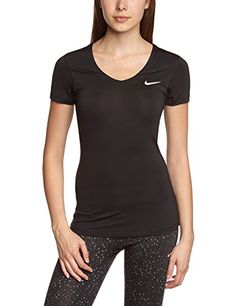 Nike Pro Maillot manches courtes Femme Noir/Blanc FR : XS (Taille Fabricant…