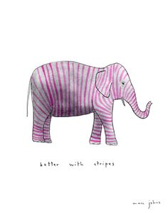 Illustration elephant with stripes