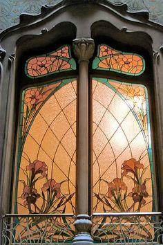 Art Nouveau Window, Barcelona, Spain. Dads' sunrise/sunset stained glass panels' similar... but better  ;)