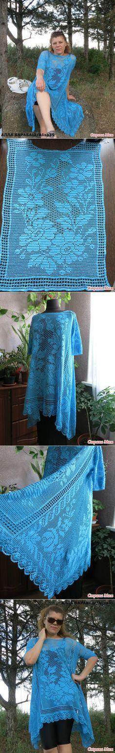 Туника по мотивам работ Алены Коблянской Form Crochet, Filet Crochet, Irish Crochet, Crochet Yarn, Double Crochet, Crochet Stitches, Knit Crochet, Crochet Mandala, Crochet Afghans