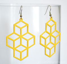 DIY Geometric Earrings made with Cricut Explore -- Artsy Fartsy Mama. #DesignSpaceStar Round 2