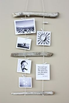 made with pieces of driftwood, tread and pictures and postcards