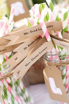 Personalized Vintage Escort Card Flags / Wedding by Four13Designs
