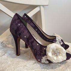 Wedding Shoes  Lace Shoes  Purple Lace Shoes  Handmade by Parisxox