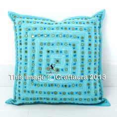 """Decorative Pillow Cases Cover Indian Mirror Embroidered Cushion Covers Throw 16"""" #TheHippieStudio #CushionCover"""