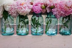 "Peonies are my favorite, and mason jars are southern and elegant......i just love this photo.  ** I found the photo on ""simply perfect weddings"" blog -- photo courtesty of Jenn Alton Photography via Prepare to Wed."