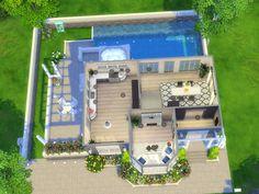 This lovely 1 bedroom, 1 bathroom house is built on a 20x20 lot in Windenburg, and is perfect for a couple! Enjoy quiet summer afternoon by the pool ! Found in TSR Category 'Sims 4 Residential Lots'