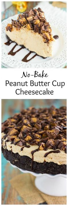 This No-Bake Peanut Butter Cup Cheesecake starts with an Oreo peanut butter cookie crust, followed by a creamy, peanut butter batter, and sprinkled with chopped peanut butter cups and chocolate syrup. It's an easy dessert that takes just minutes to prepare and is packed with flavor!