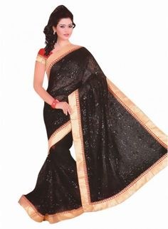 Appealing Black Chiffon #Saree With Sequin Work