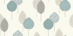 Dante Motif Teal (884002) - Arthouse Wallpapers - A pretty tree motif textured design, with decorative leaves.  In shades of grey and teal blue.  Co-ordinating stripe available. Please request sample for true colour match.