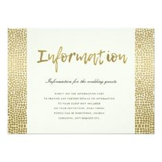 GLAMOROUS GOLD WHITE DOTS MOSAIC INFORMATION CARD - romantic wedding love couple marriage wedding preparations