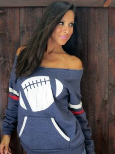 Football Off the Shoulder Girly Sport Sweatshirt. $40