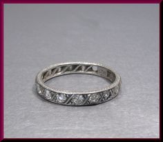 Antique Vintage Platinum Art Deco Engraved Diamond Eternity Band Wedding Band by AntiqueJewelryNyc on Etsy