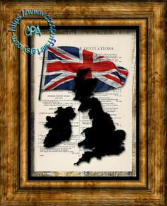 UNITED KINGDOM Black Silhouette Country with Red, White & Blue Flag Art - Vintage Dictionary Page Art Print Upcycled Page Print by CocoPuffsArt on Etsy