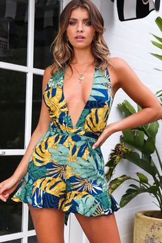 fd31c3fa16 Women Dark-blue Leaf Print Plunging Sleeveless Cross Back Sexy Romper - S. Backless  JumpsuitStrapless JumpsuitFloral ...