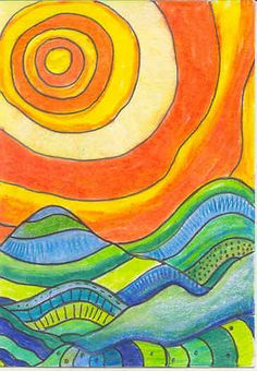 Warm Cool Landscape1 Color Art Lessons, 2nd Grade Art, Warm And Cool Colors, Hawaiian Art, Sun Art, Cool Art Projects, Art Lessons Elementary, Art Graphique, Elements Of Art