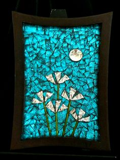 'Silver Moon Flowers' Stained glass on mirror