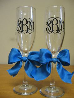 Personalized Monogram Wedding Champagne Flutes by VinyleYours, $20.00
