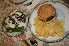 Danish Burgers W/  Herb Caper Sauce and a Mod Salad from Food.com:   These burgers are tasty, hearty, moist and very easy to make. The flavors are simply fabulous. The recipe comes from Rachael Ray.  Tip: Put the cheese in the freezer while you prep everything - just 10 minutes in a deep freeze makes the dicing a lot easier.