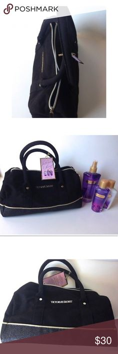 NWT Victoria's Secret love spell gift set & bag NEw with tags and never tried on vs 3 piece love spell gift set with handbag.  1-Hydrating body lotion 4.2 FL oz 2-fragrance mist 8.4 fl oz  3- body wash 5.2 fl oz 4-black handbag with hold and black glitter bottom, logo vs placket and logo vs zipper pull It has notes of cherry blossom and peach. Victoria's Secret Accessories