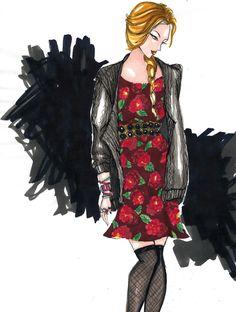 vestido estampado e tricô em marker #tricot #fashion #illustration  #draw #dress #printed