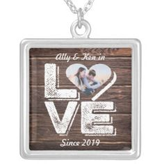 #Love Rustic Woodland Photo Heart Frame Monogram Silver Plated Necklace - #bridal #shower #gifts #wedding #bride